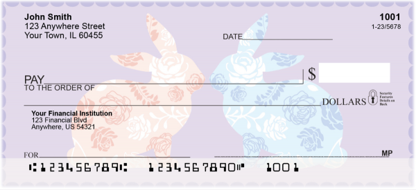 Blooms and Bunnies Personal Checks | ANI-021