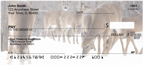 Deer in Winter Personal Checks | ANI-60