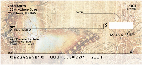 Rustic Butterflies Personal Checks | EVC-06