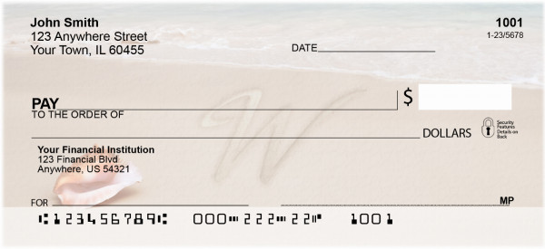 Sand Written Monogram 'W' Personal Checks | MONO-07W