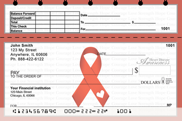 Heart Disease Awareness Ribbon Top Stub Personal Checks | TSRIB-16